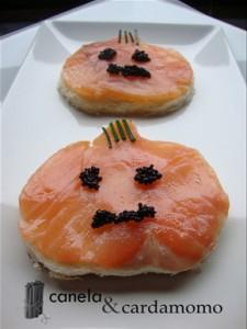 calabazas de salmón para Halloween