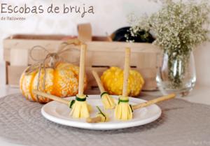 escobas de bruja de queso para Halloween
