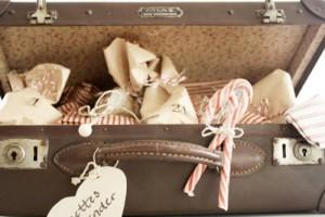 Calendario de Adviento dentro de una maleta