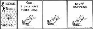 comic gato de tres patas