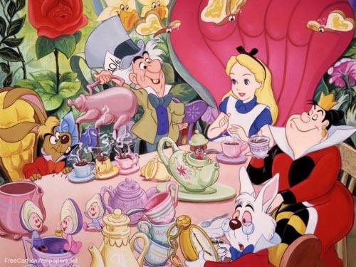 Alicia en el país de las maravillas en la fiesta del té