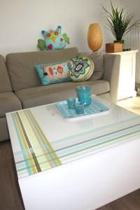 Mesa decorada con washi tape