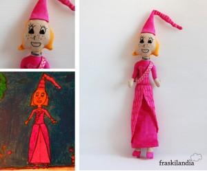 Dibujo de princesa hecho muñeca