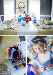 Mesa decorada ambientada en el cuento de Blancanieves