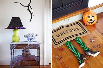 Decoración Halloween, brujas en lámpara y felpudo