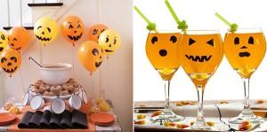 Decoración Halloween, calabazas en globos y copas