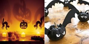 Decoración Halloween:calabazas como velas y muciélagos