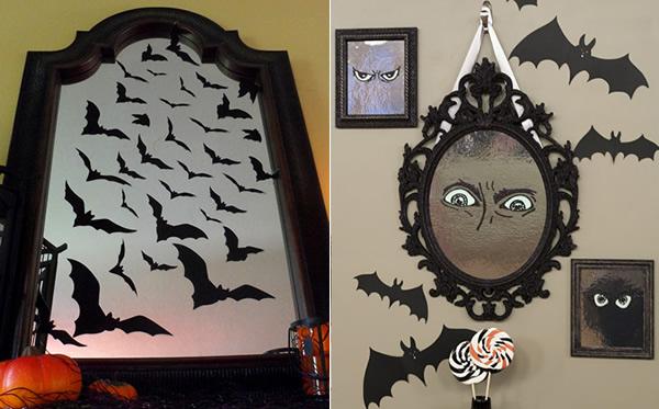 Decoración Halloween,-espejos con murciélagos y ojos