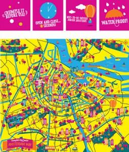 Crumpled map para niños de Amsterdam