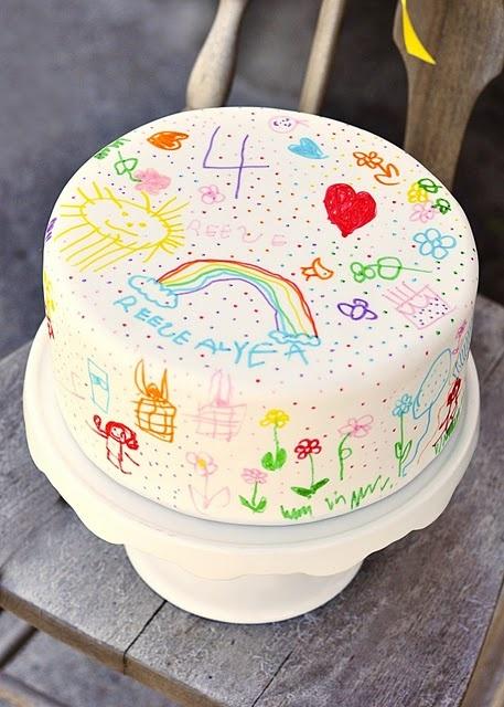 Tarta de cumpleaños decorada con fondant